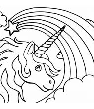 Rainbow Unicorn Beauty to color for kids