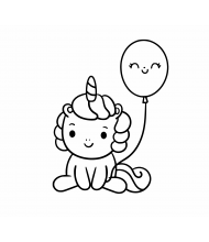 Baby unicorn and baloon to color for kids