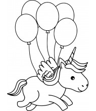 Unicorn and five baloon to color for kids
