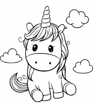 Cute Unicorn to color for kids