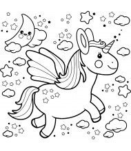 Dream Unicorn fly to color for kids