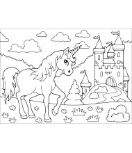 Unicorn and palace to color for kids