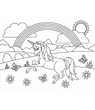 Unicorn and forest to color for kids