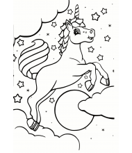 Dream unicorn to color for kids