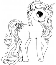 Unicorn female beautiful to color for kids