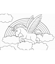 Fly unicorn in the cloudy to color for kids