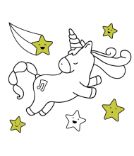 Flying Unicorn to color for kids