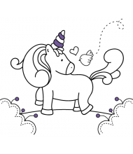 Friend Unicorn to color for kids