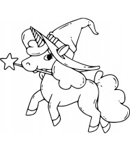 Unicorn Halloween to color for kids