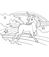 Jumping unicorn to color for kids