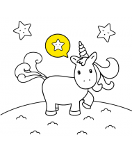 Kawaii Unicorn to color for kids