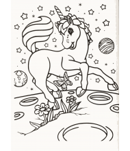 Unicorn running in the moon to color for kids