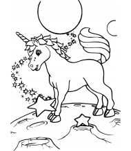 Unicorn on the mars to color for kids