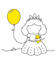 Princess Baloon to color for kids