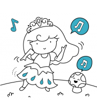 Princess Music to color for kids