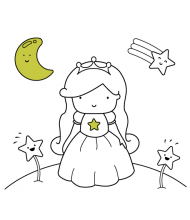 Princess Star to color for kids