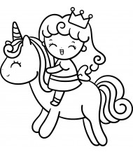 Princess and Unicorn to color for kids