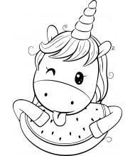 Cute Unicorn eat melon to color for kids