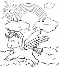 Happy Unicorn to color for kids