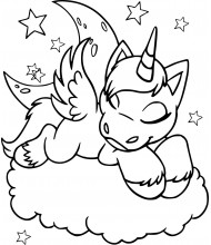 Unicorn Sleep to color for kids
